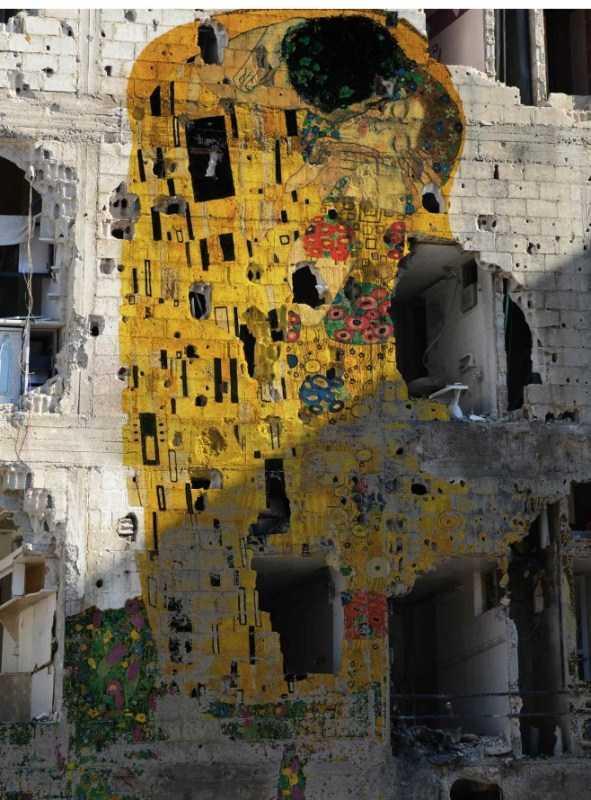 Tarian Matisse dan Ciuman Klimt di Reruntuhan Suriah 1 tammam azzamm,karya anti-perang,reruntuhan perang,propaganda seni,perang suriah