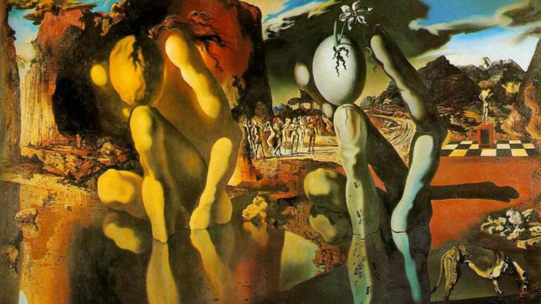 Lukisan Salvador Dali - Metamorphosis of Narcissus
