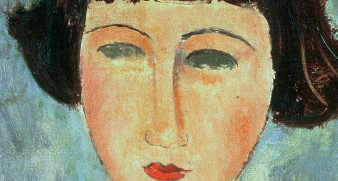 Young Brunette - Lukisan Modigliani