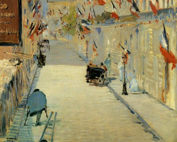 Lukisan Edouard Manet – Rue Mosnier Decorated with Flags, with a Man on Crutches