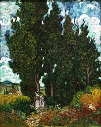 Cypresses with Two Figures (1889–1890)