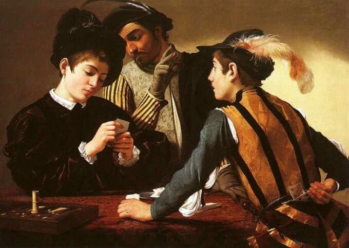 Lukisan Caravaggio - The Cardsharps