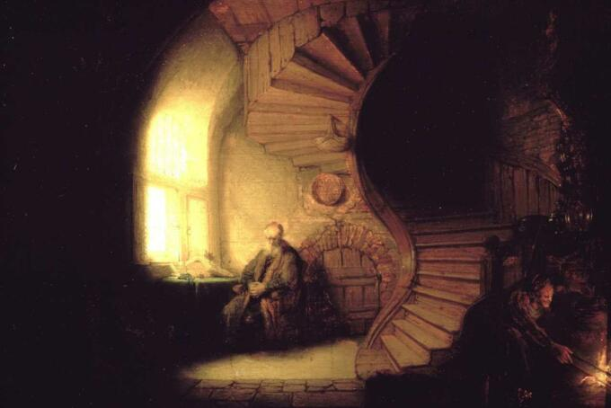 Lukisan rembrandt - philosopher in meditation