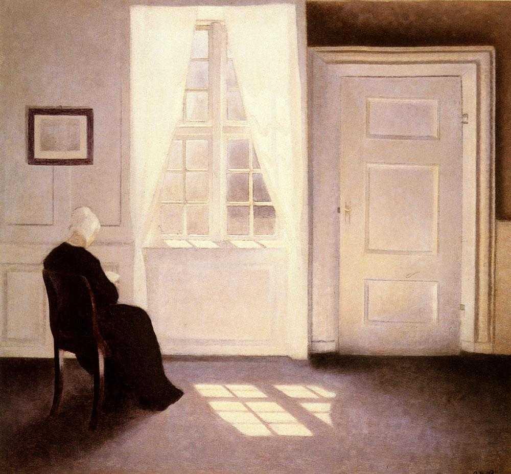 Meditasi Ruang 2 vilhelm hammershoi,lukisan interior,lukisan ruang,kierkegaard estetika,lukisan kehampaan