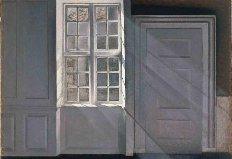 Dust Motes Dancing in the Sunbeam, Lukisan Interior Vilhelm Hammershoi