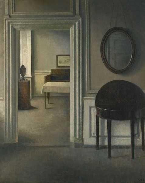 Meditasi Ruang 6 vilhelm hammershoi,lukisan interior,lukisan ruang,kierkegaard estetika,lukisan kehampaan