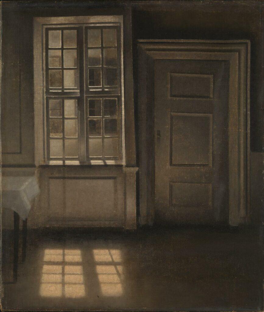 Meditasi Ruang 12 vilhelm hammershoi,lukisan interior,lukisan ruang,kierkegaard estetika,lukisan kehampaan