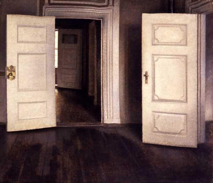 Meditasi Ruang 8 vilhelm hammershoi,lukisan interior,lukisan ruang,kierkegaard estetika,lukisan kehampaan