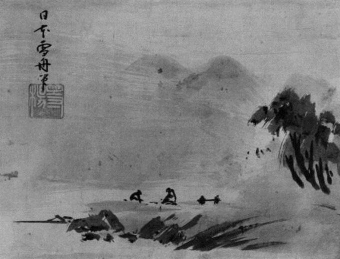 Lukisan Sesshu Toyo -Fisherman and Woodcutter