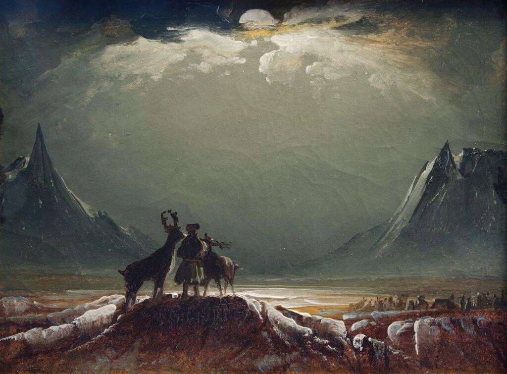 lukisan naturalisme Samii with Raindeer