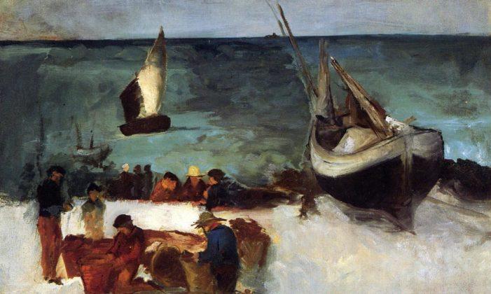 Edouard Manet - Berck Seascape - Fishing Boats and Fishermen - 1873