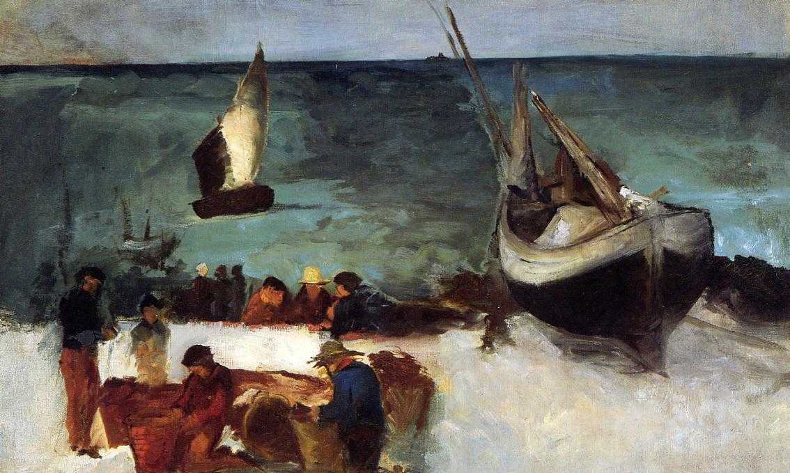 Edouard Manet - Berck Seascape - Fishing Boats and Fishermen - 1873