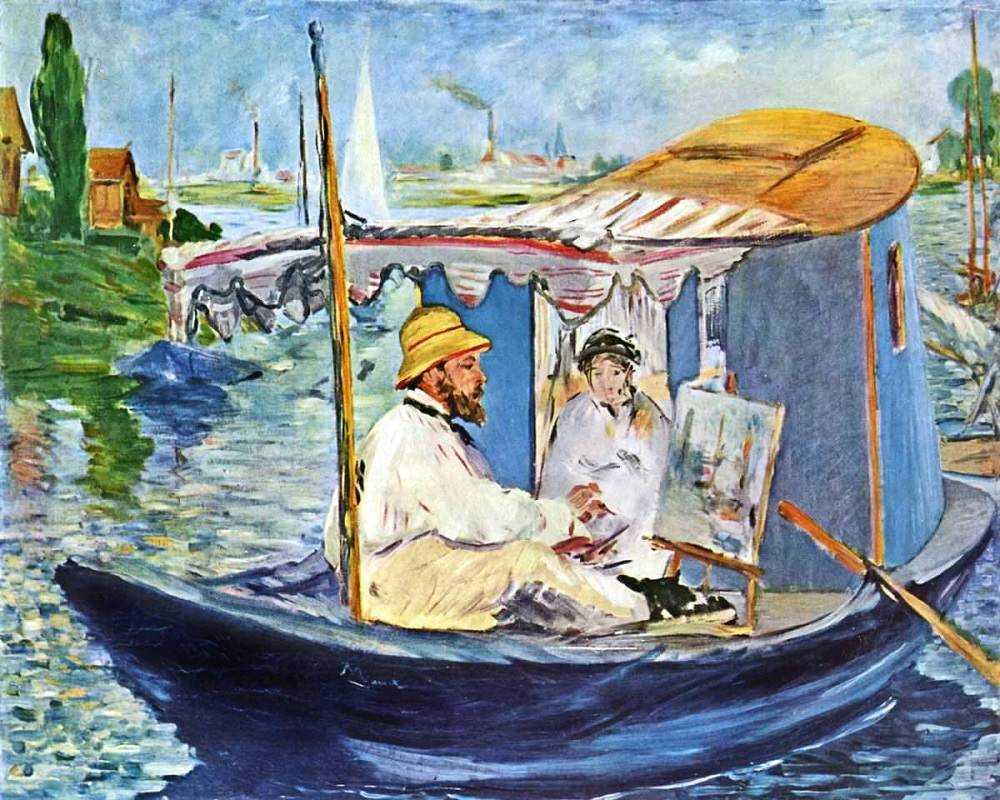 Edouard Manet - Monet in his Studio Boat