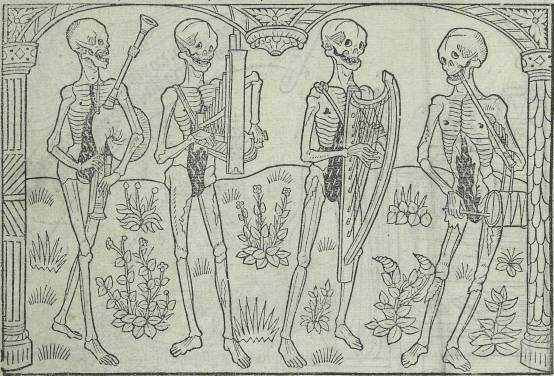 Tarian Kematian Guyot Marchant - The Danse Macabre of Holy Innocente Cemetery, Musicians