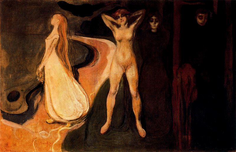 Karya Edvard Munch Twee vrouwen aan het strandThe Three Stages of Woman (Sphinx)